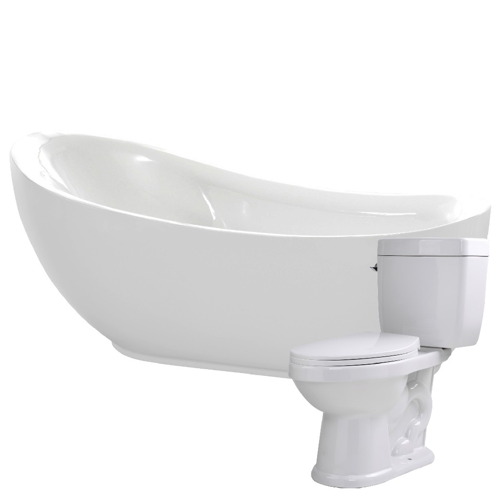 Anzzi Soaking Bathtub Single Flush Toilet
