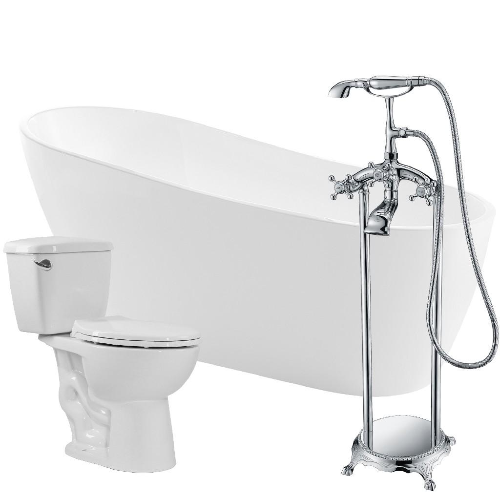 Anzzi Soaking Bathtub Tugela Faucet Cavalier Toilet