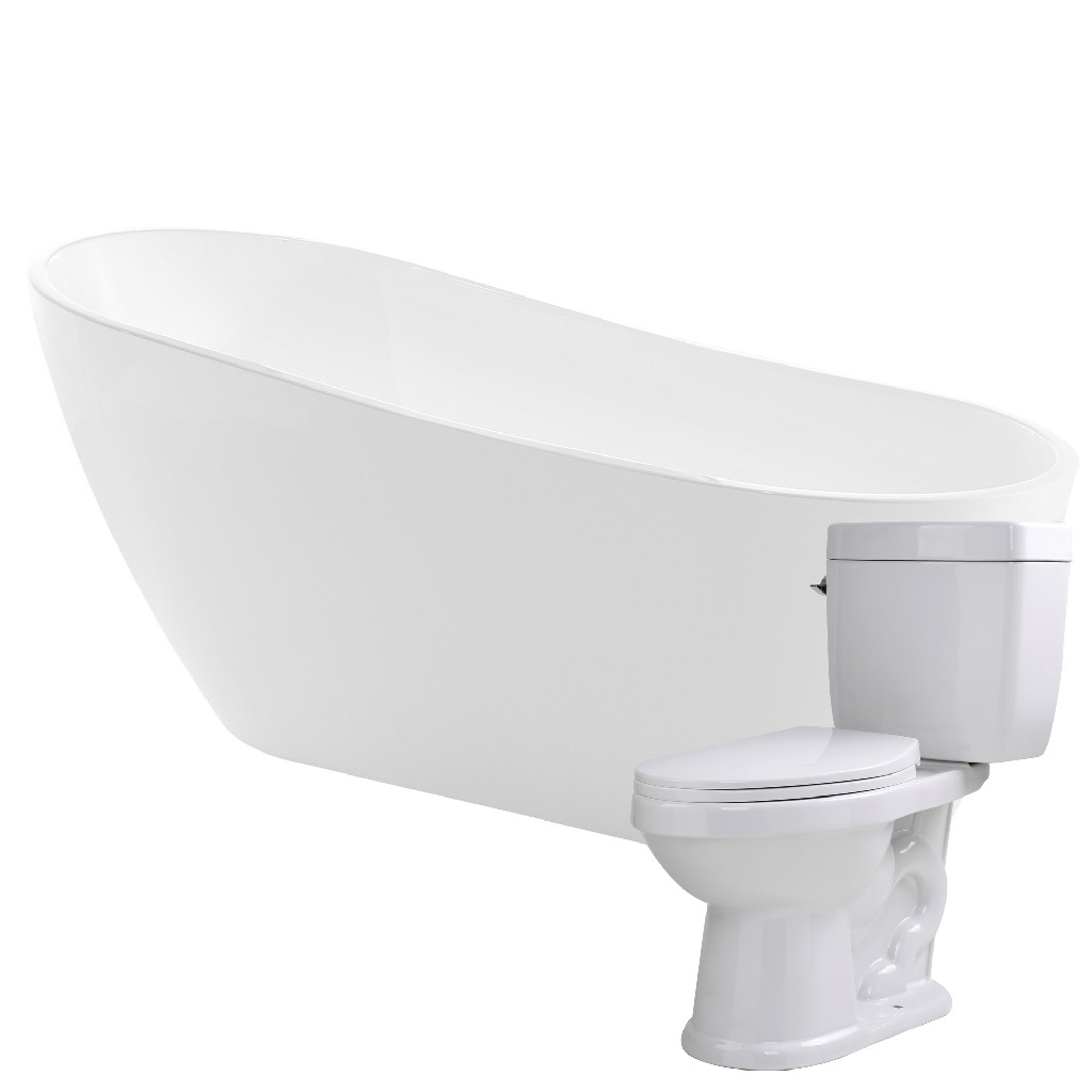 Click here for Anzzi Bathtub Kame Single Flush Toilet