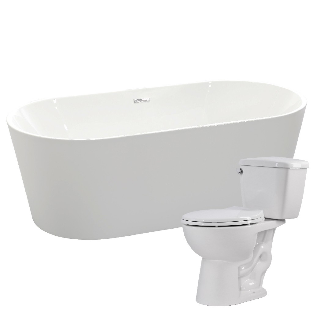 Anzzi Soaking Bathtub Cavalier Single Flush Toilet