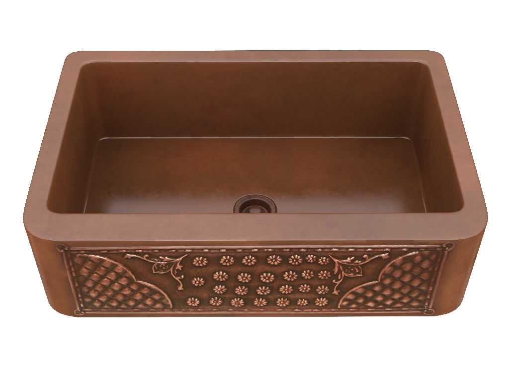 Anzzi Kasha Handmade Hole Single Bowl Kitchen Sink Flower Bed Panel Image