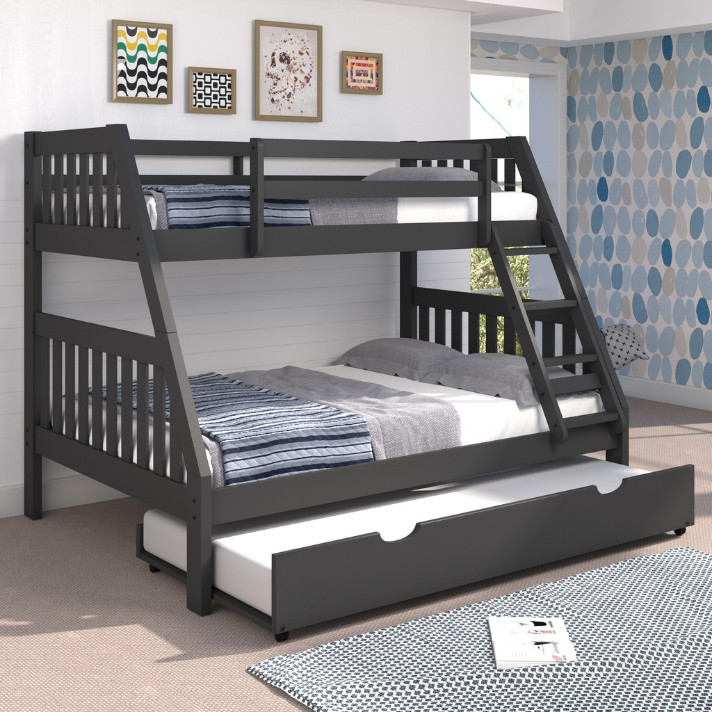 Bonnie Twin Full Mission Bunk Bed Trundle Gray Hillsdale