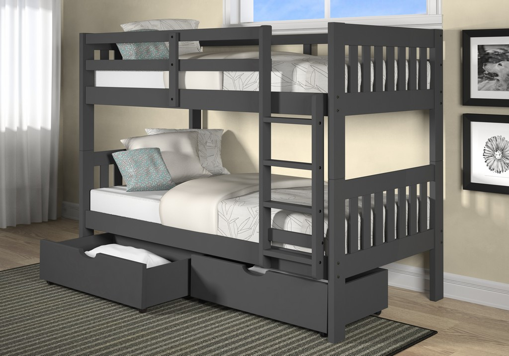 Chelsea Dayton Twin Twin Mission Bunk Bed Gray Underbed Drawers Hillsdale