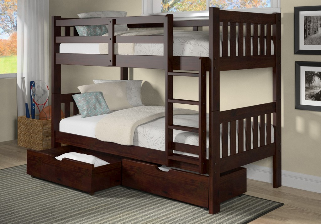 Masion Twin Twin Mission Bunk Bed Chocolate Underbed Drawers Hillsdale