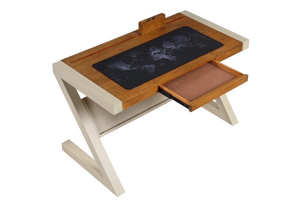 Leg Writing Table Pecan Sand Hillsdale