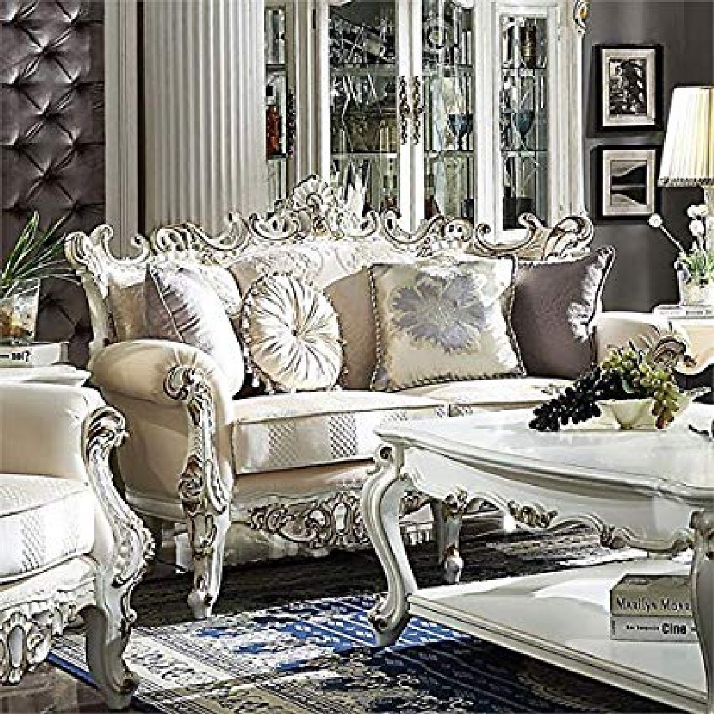 Acme Loveseat Pillows Fabric Antique Pearl