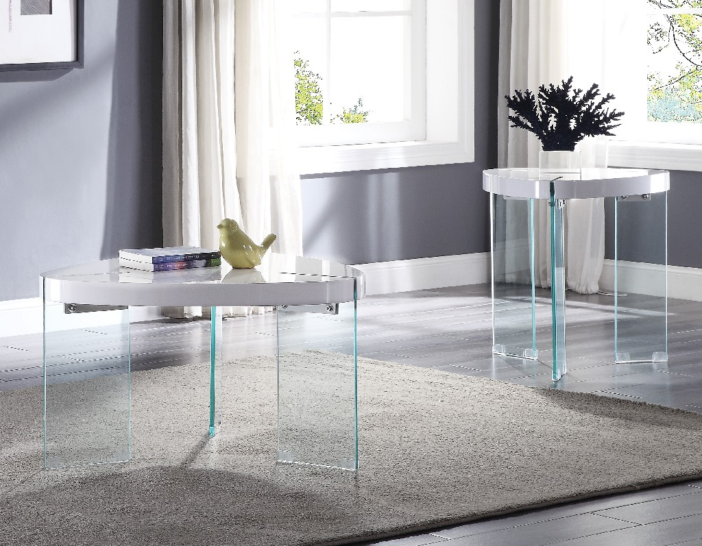 Furniture   Coffee   Clear   Glass   Table   White   High