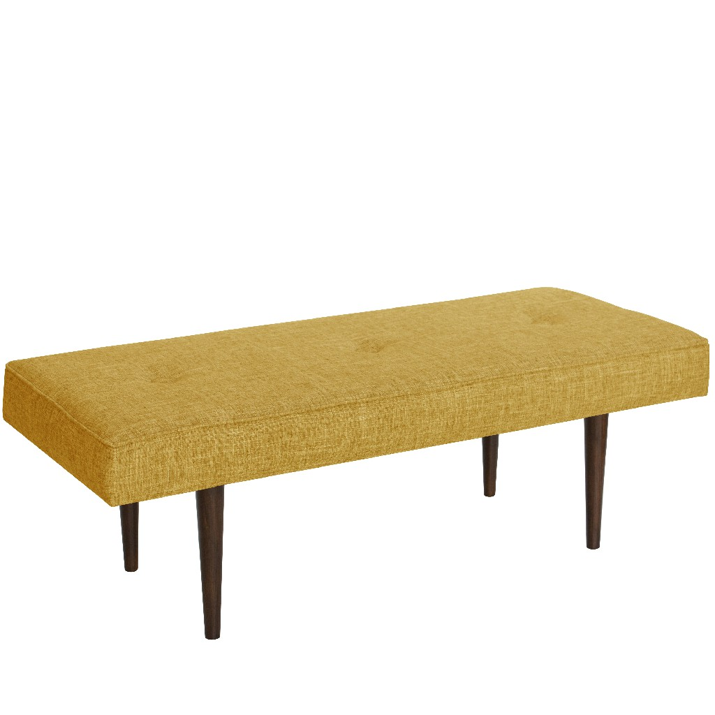 Button Tufted Bench with Cone Legs in Zuma Golden - Skyline 548ZMGLD