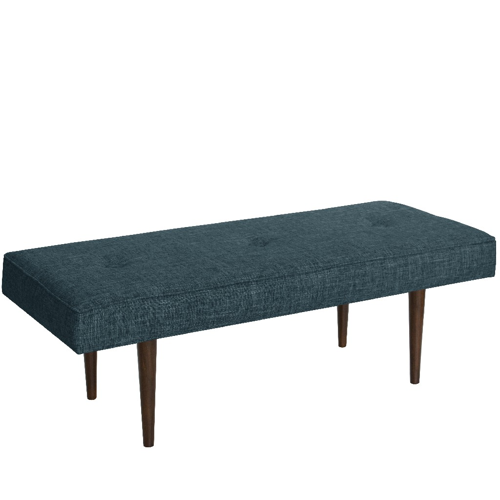 Button Tufted Bench with Cone Legs in Zuma Navy - Skyline 548ZMNV