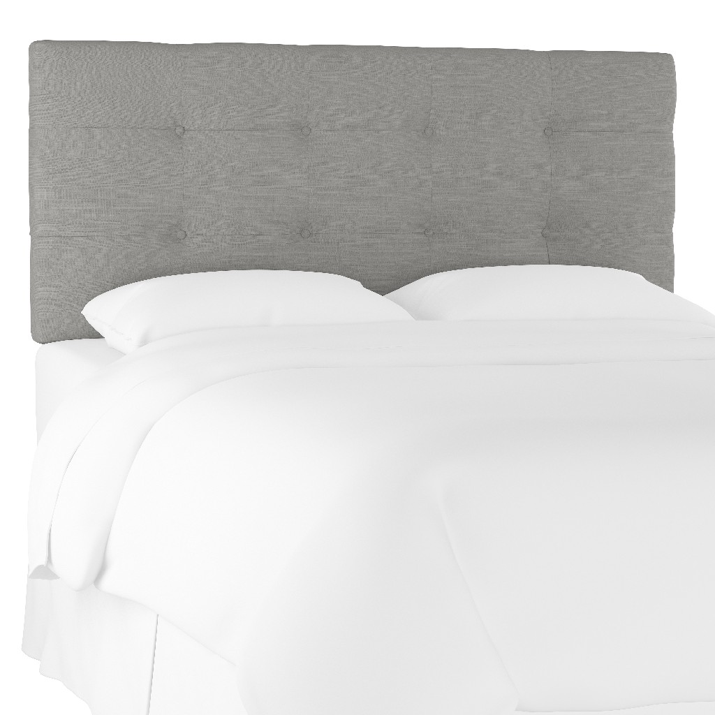 California King Tufted Headboard in Linen Grey - Skyline 794CLNNGR