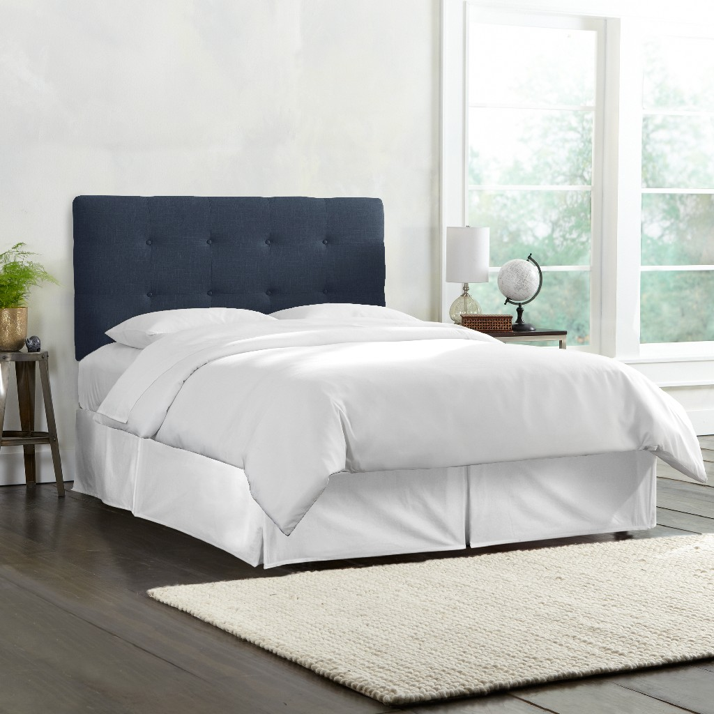 California King Tufted Headboard in Linen Navy - Skyline 794CLNNNV