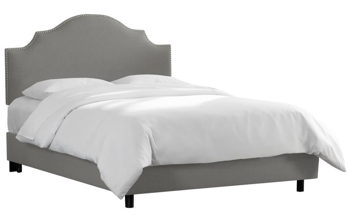 California King Nail Button Notched Bed in Linen Grey - Skyline 834NBBED-PWLNNGR