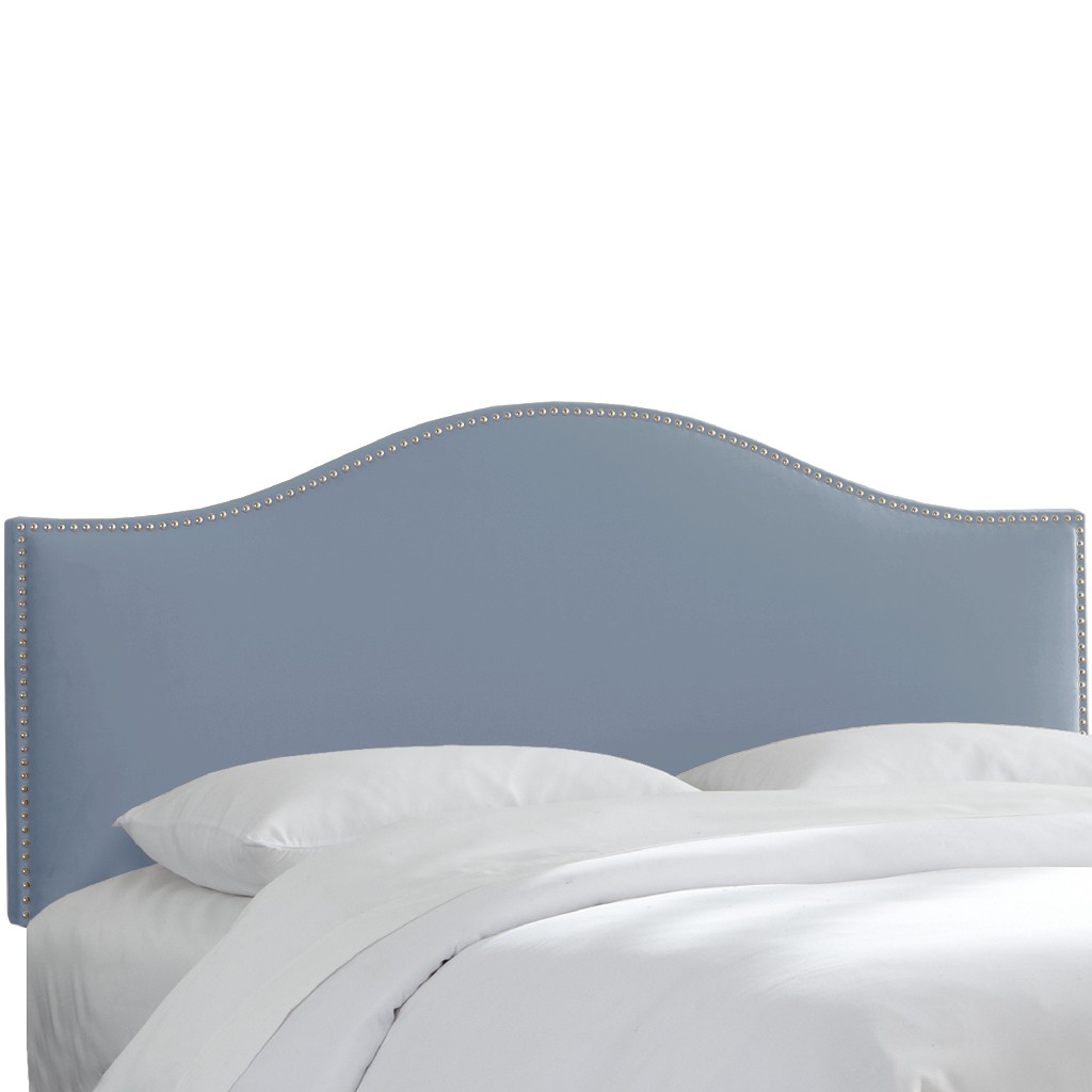 California King Nail Button Headboard in Velvet Ocean - Skyline 914NB-PWVLVOCN