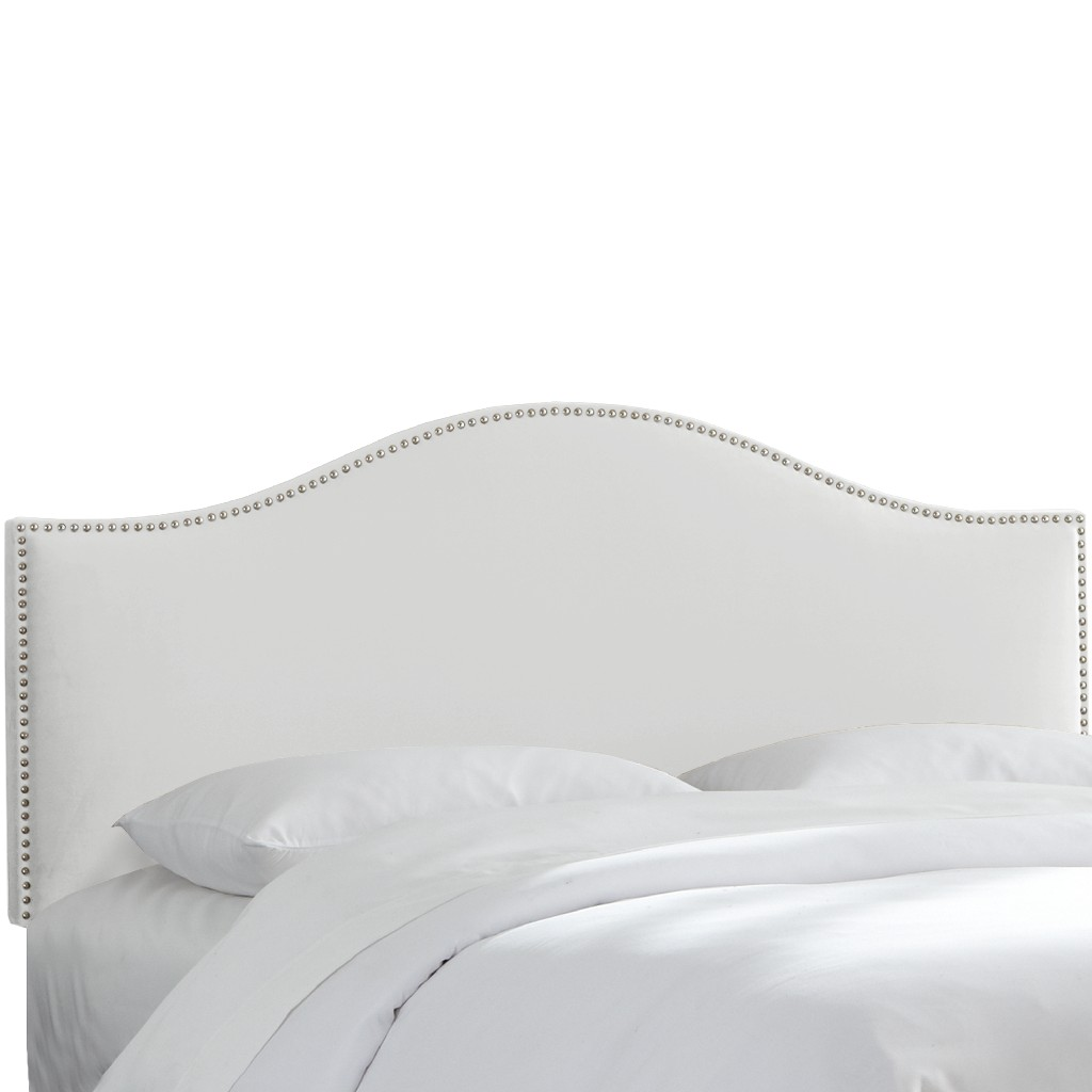 California King Nail Button Headboard in Velvet White - Skyline 914NB-PWVLVWHT