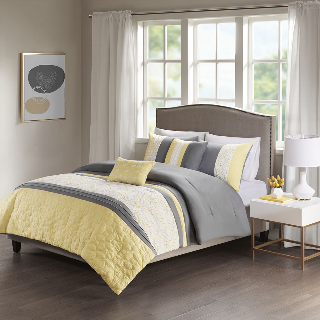 Donnell King/Cal King Embroidered 5 Piece Comforter Set - 510 Design 5DS10-0060