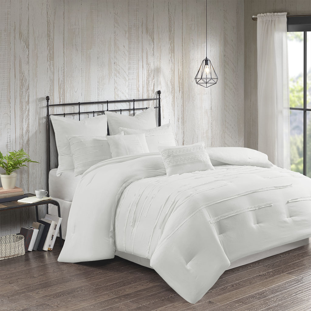 510 Design King 100% Polyester 8 Piece Microfiber Comforter Set in White - Olliix 5DS10-0216