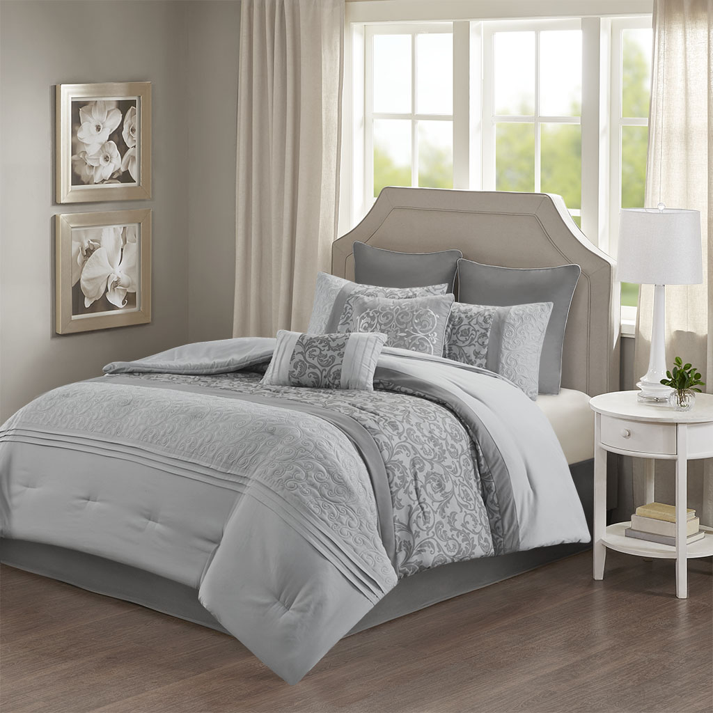 510 Design Queen Embroidered 8 Piece Comforter Set in Grey - Olliix 5DS10-0218