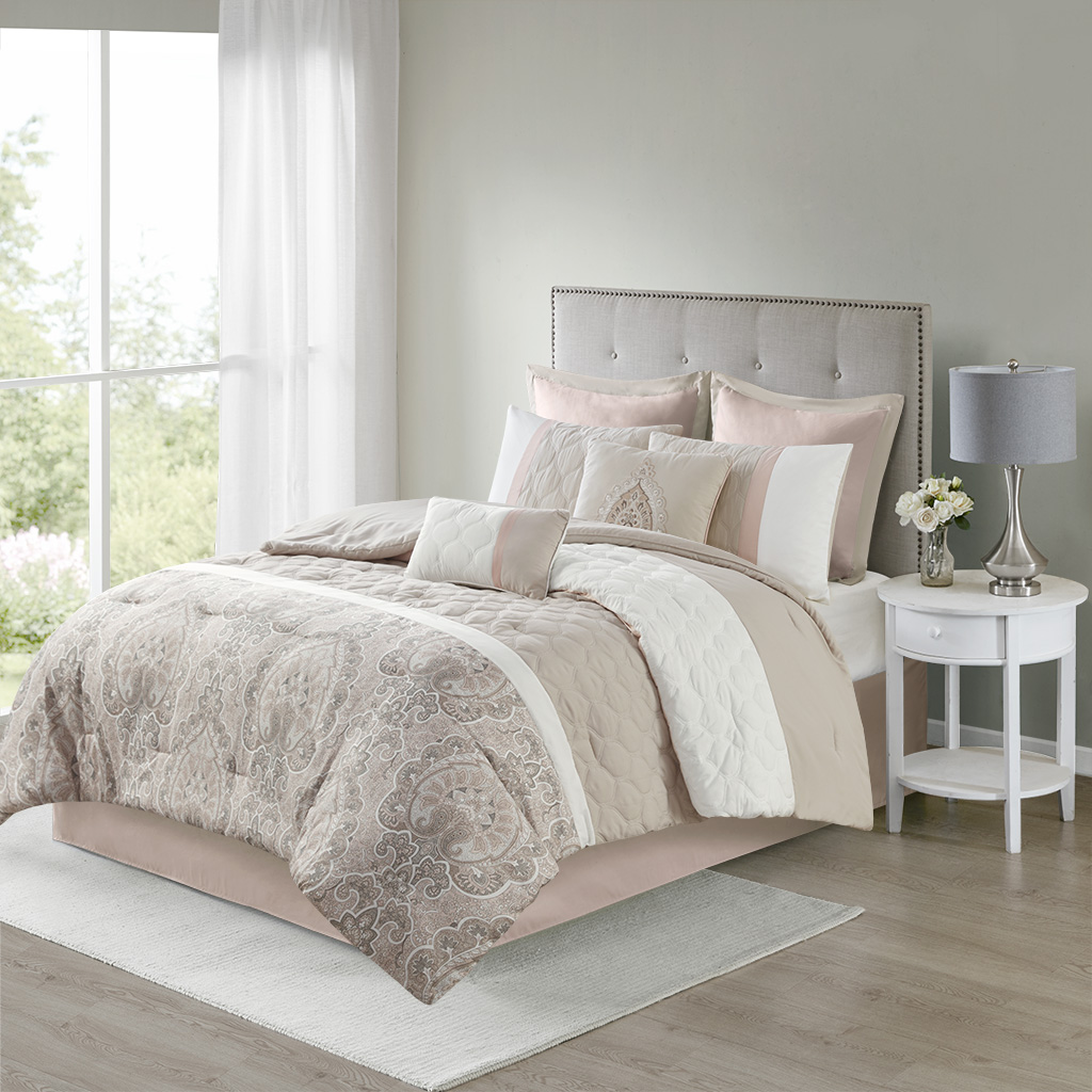 510 Design Queen 8 Piece Comforter Set in Blush - Olliix 5DS10-0222