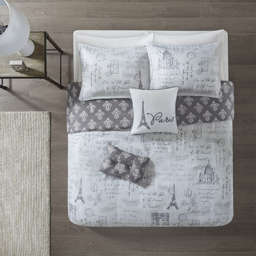 510 Design Full/Queen 5 Piece Reversible Paris Print Duvet Cover Set in Grey/Charcoal - Olliix 5DS12-0213