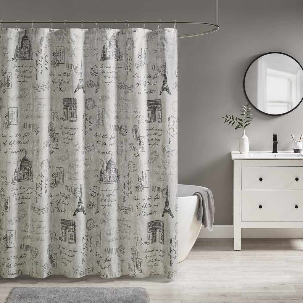 510 Design 72x72 100% Polyester Microfiber Paris Printed Shower Curtain in Grey/Charcoal - Olliix 5DS70-0212