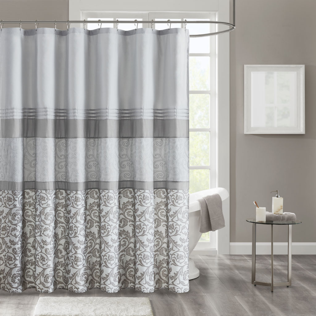 "510 Design 72x72"" Printed & Embroidered Shower Curtain w/ Liner in Grey - Olliix 5DS70-0217"