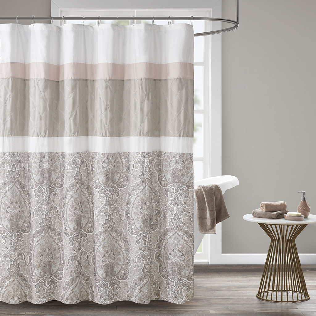 "510 Design 72x72"" Printed & Embroidered Shower Curtain w/ Liner in Blush - Olliix 5DS70-0221"
