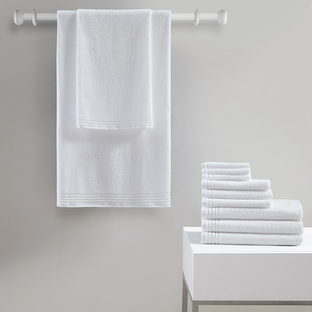 510 Design 100% Cotton 12Pcs Bath Towel Set in White - Olliix 5DS73-0200