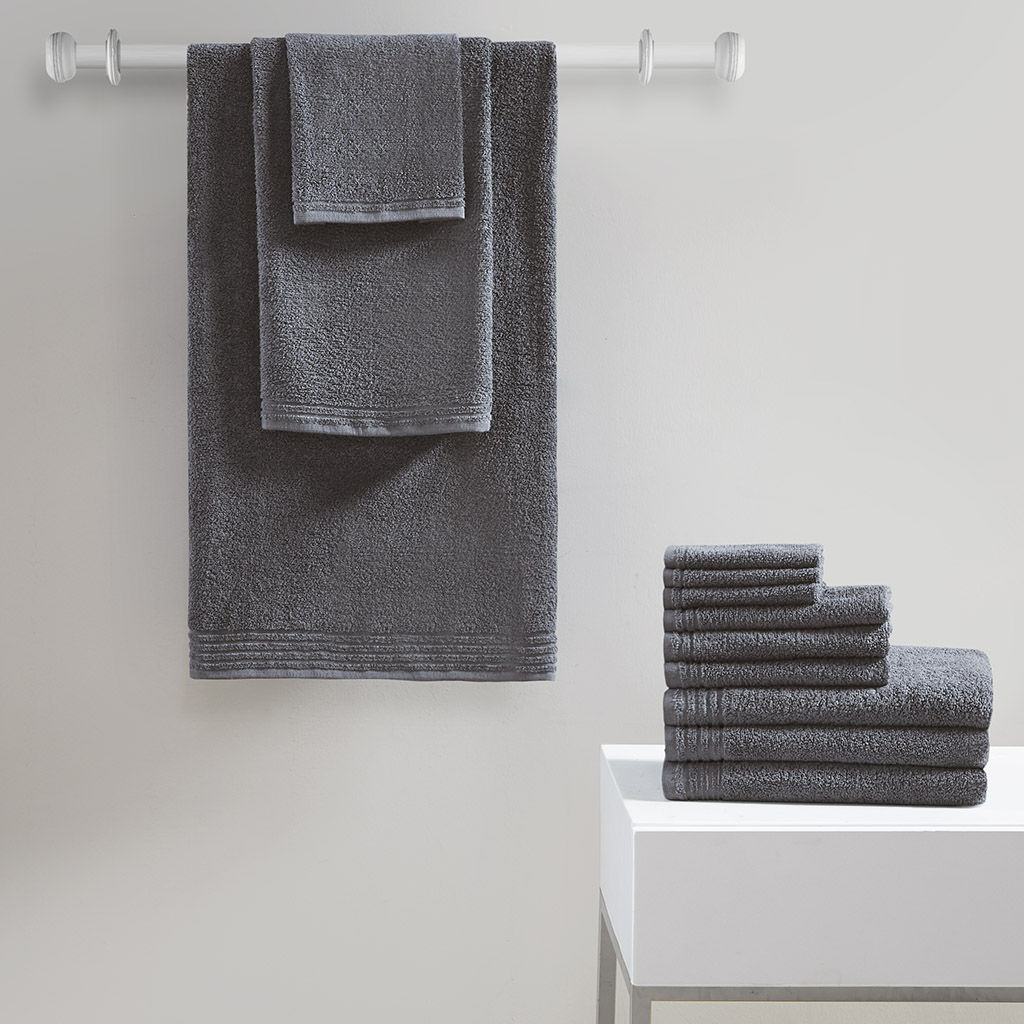 510 Design 100% Cotton 12 Piece Bath Towel Set in Grey - Olliix 5DS73-0201