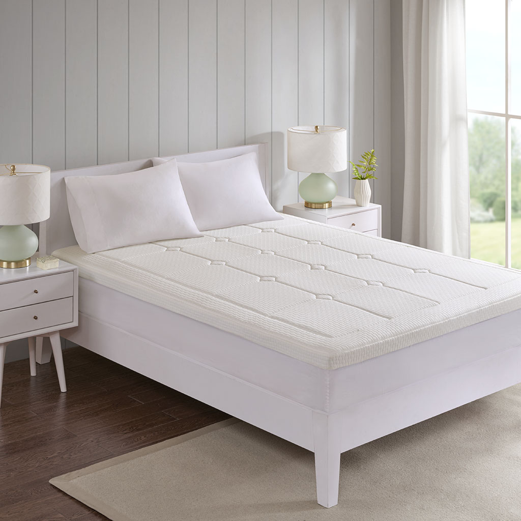"Deluxe King 3"" Quilted Memory Foam Mattress Topper - Flexapedic by Sleep Philosophy BASI16-0546"