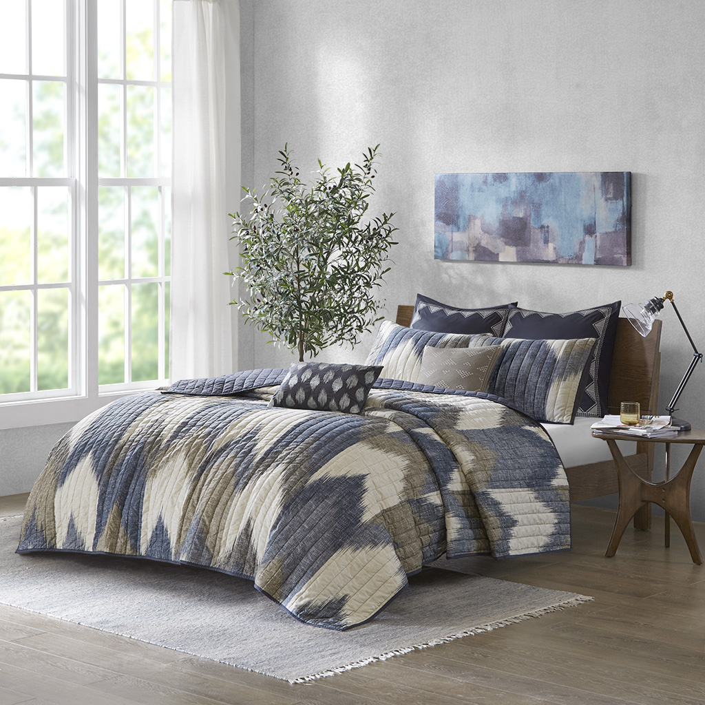 Alpine King/Cal King 3 Piece Printed Cotton Coverlet Set - INK+IVY II13-1043