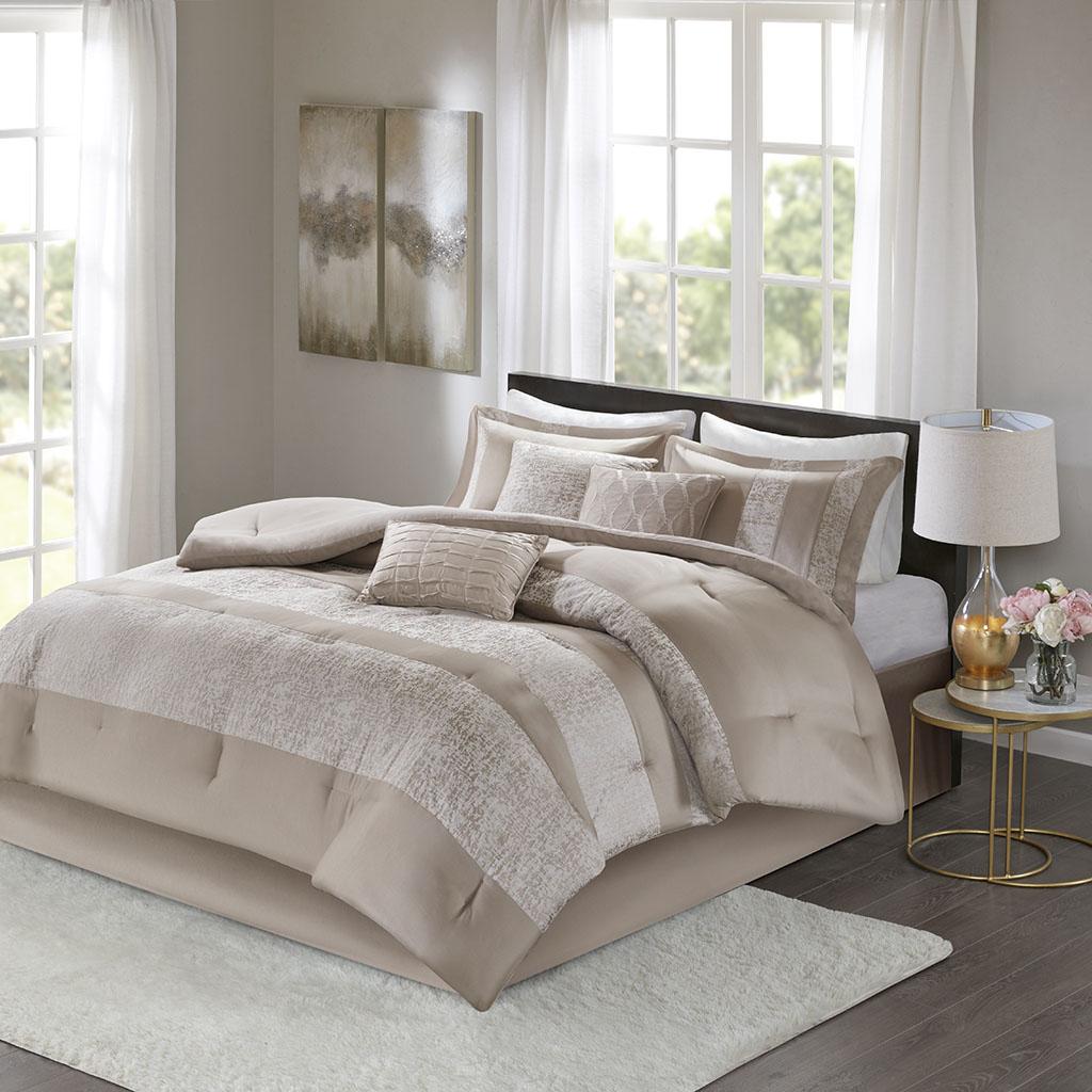 Ava Queen 7 Piece Chenille Jacquard Comforter Set - Madison Park MP10-6032