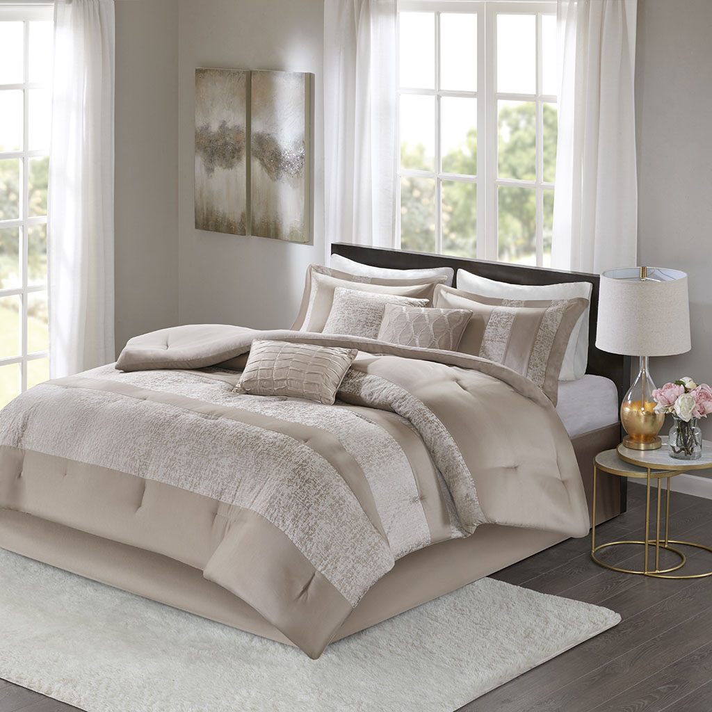Ava Cal King 7 Piece Chenille Jacquard Comforter Set - Madison Park MP10-6034