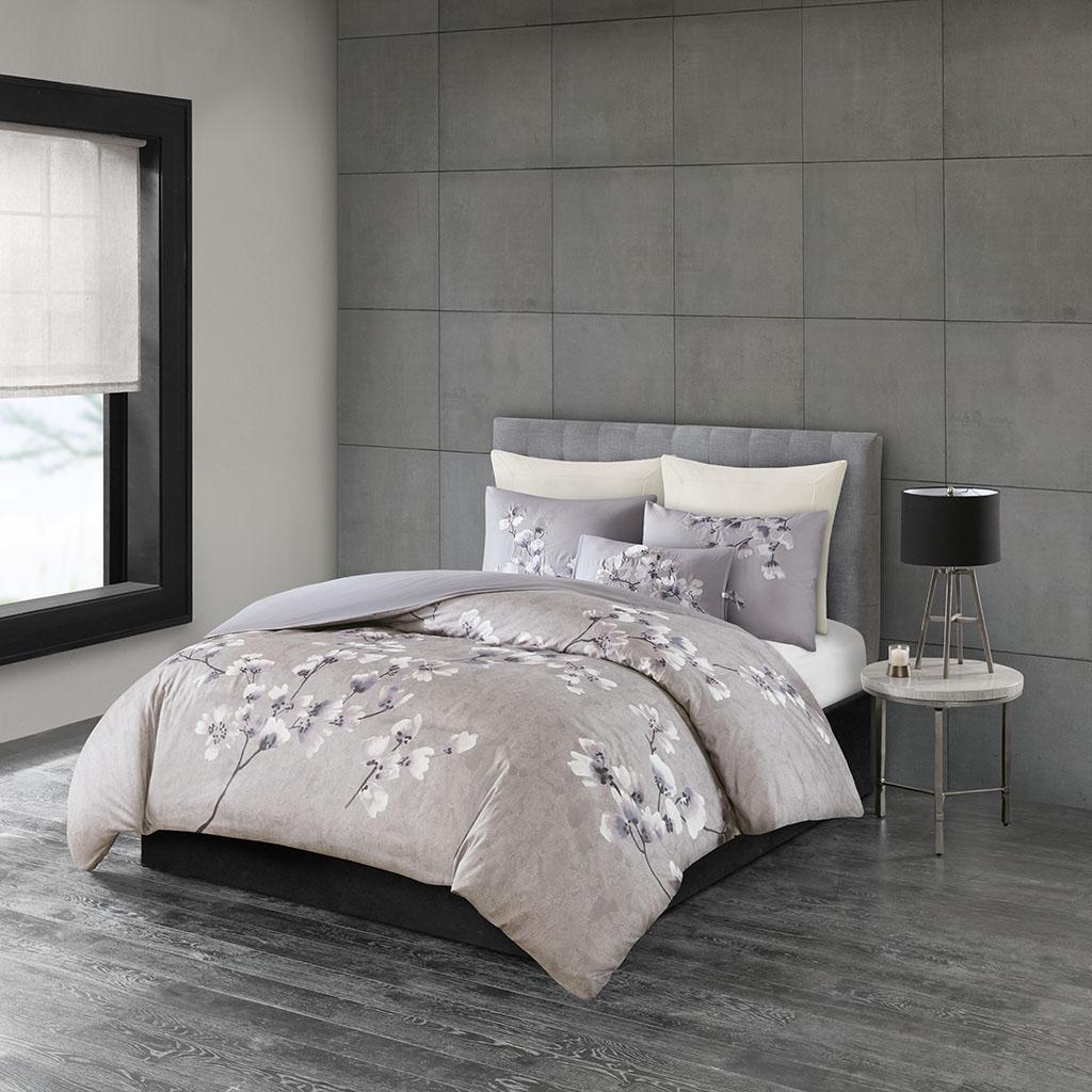 Sakura Blossom King 3 Piece Cotton Sateen Printed Comforter Set - N Natori NS10-3256