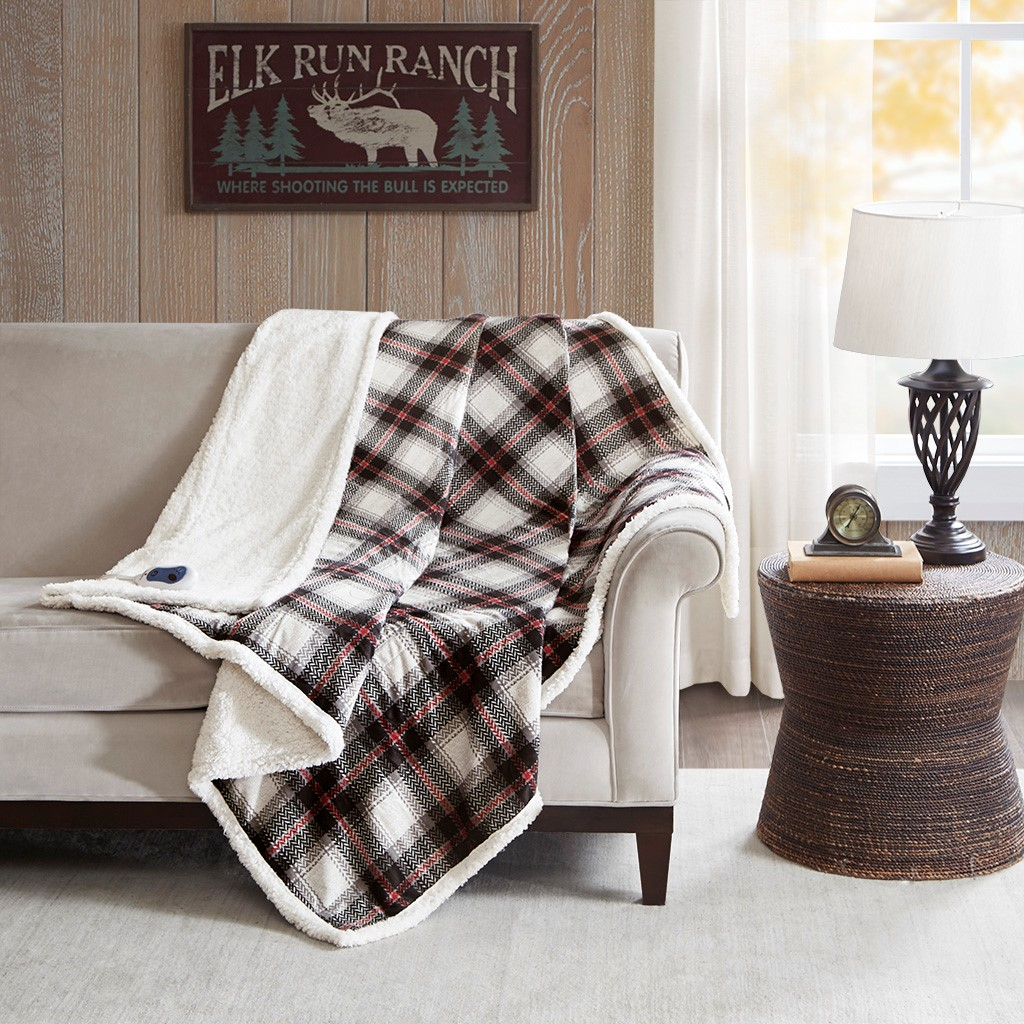 """Ridley 60x70"""" Oversized Plaid Print Faux Mink to Berber Heated Throw - Woolrich WR54-2388"""