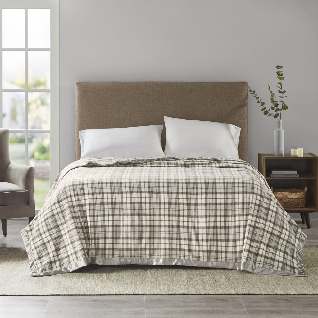 True North by Sleep Philosophy Full/Queen Blanket in Grey Plaid - Olliix BL51-0896
