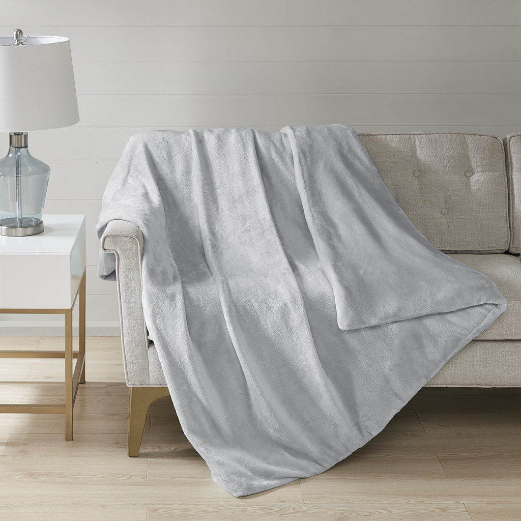 Sleep Philosophy 100% Polyester Solid Weighted Blanket in Grey - Olliix BL51-0920