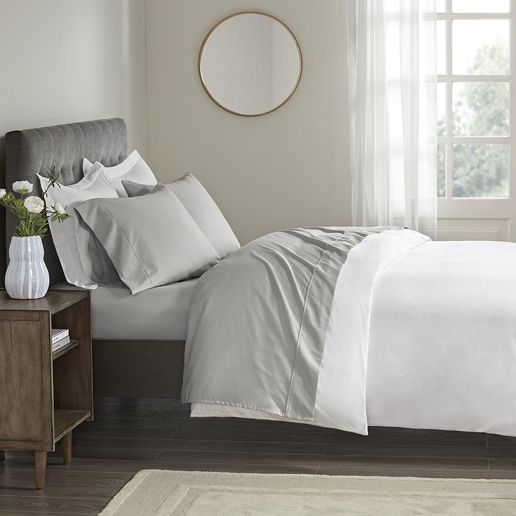 Beautyrest Full 100% Cotton Sateen Performance Sheet Set in Grey - Olliix BR20-0978