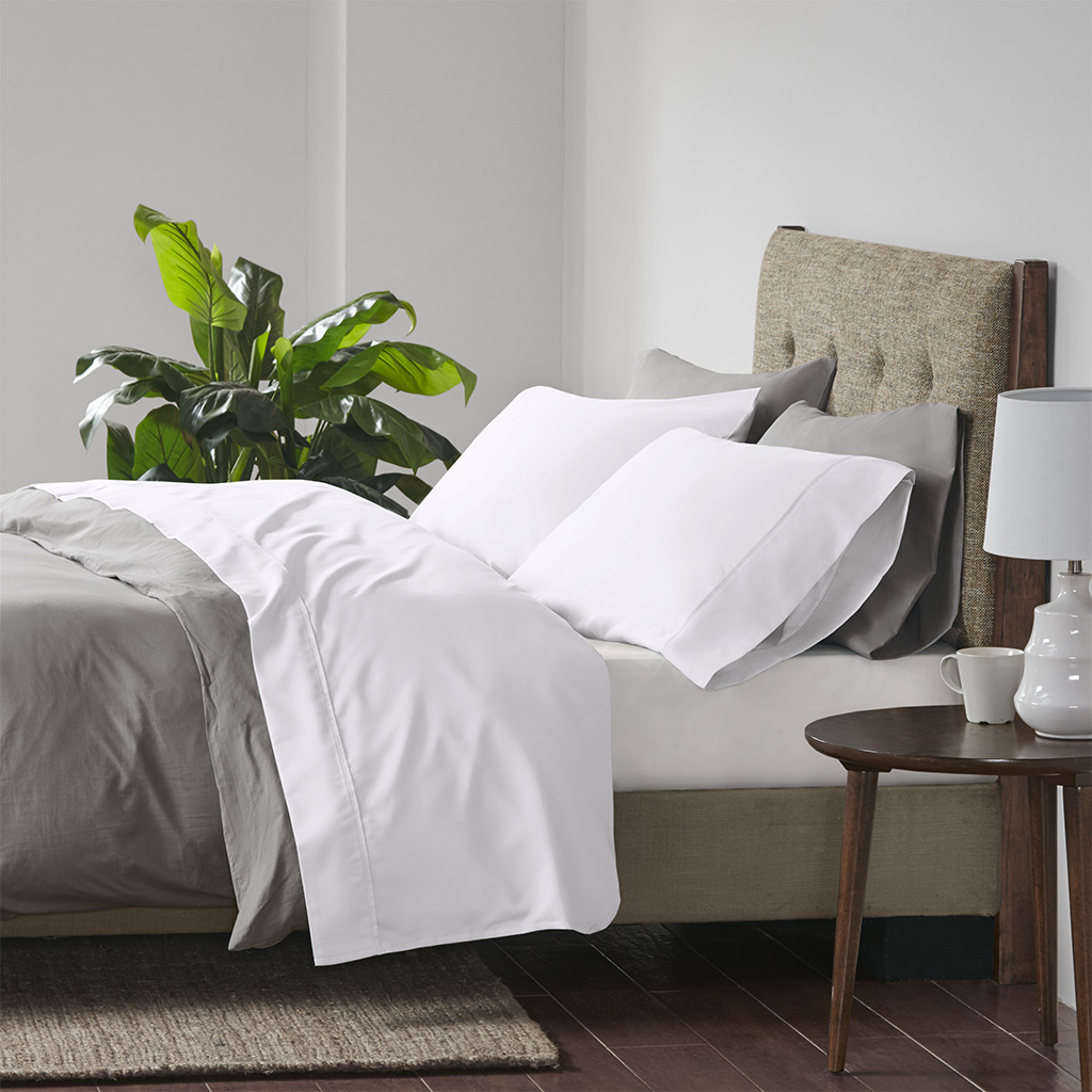 Beautyrest Cal King Cooling Cotton Rich Sheet set in White - Olliix BR20-0989