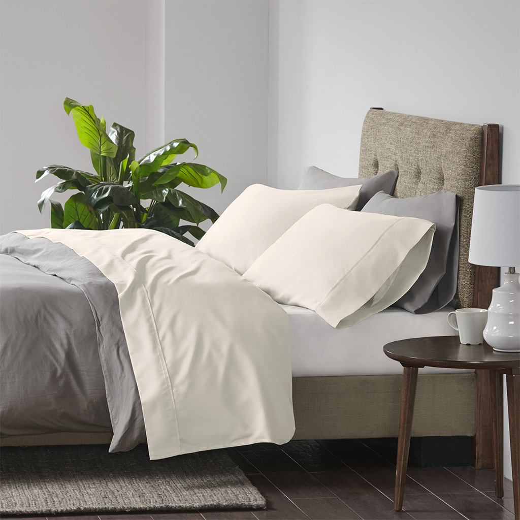Beautyrest Full Cooling Cotton Rich Sheet Set in Ivory - Olliix BR20-0990