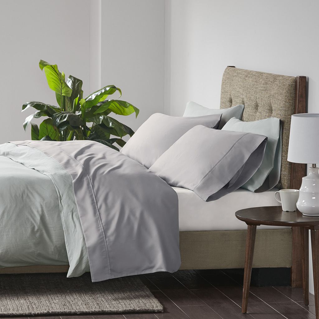 Beautyrest Full Cooling Cotton Rich Sheet Set in Grey - Olliix BR20-0994