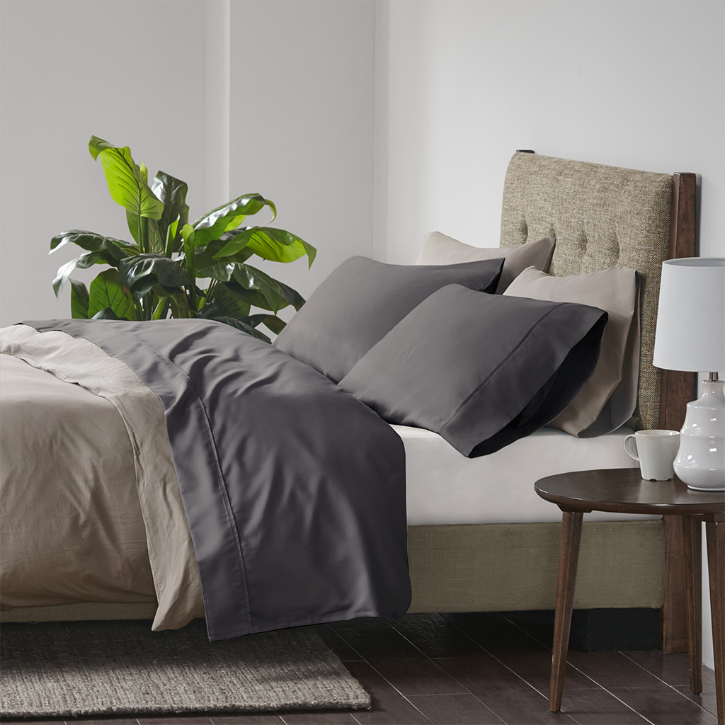 Beautyrest Cal King Cooling Cotton Rich Sheet set in Charcoal - Olliix BR20-1009