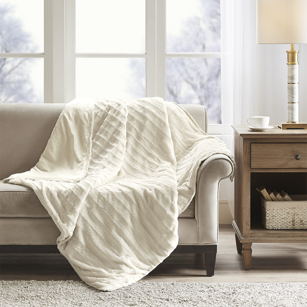 Beautyrest 60x70-18lbs Weighted Blanket in Ivory - Olliix BR51-0966