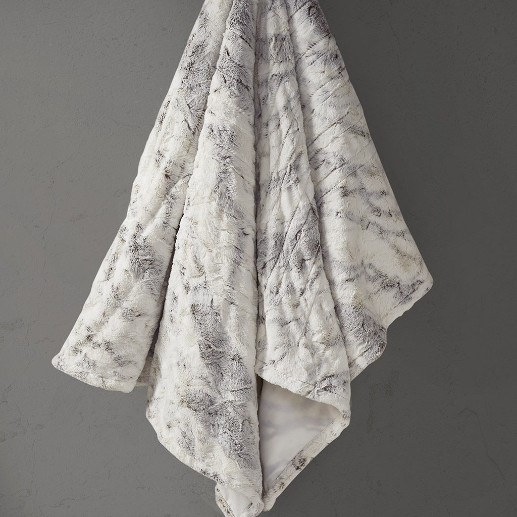 Beautyrest 50x70 100% Polyester Marble Faux Fur Heated Throw in Natural Marble - Olliix BR54-1371