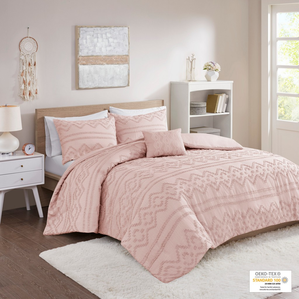 100% Polyester Solid Clipped Jacquard Duvet Cover Set - Olliix ID12-1941