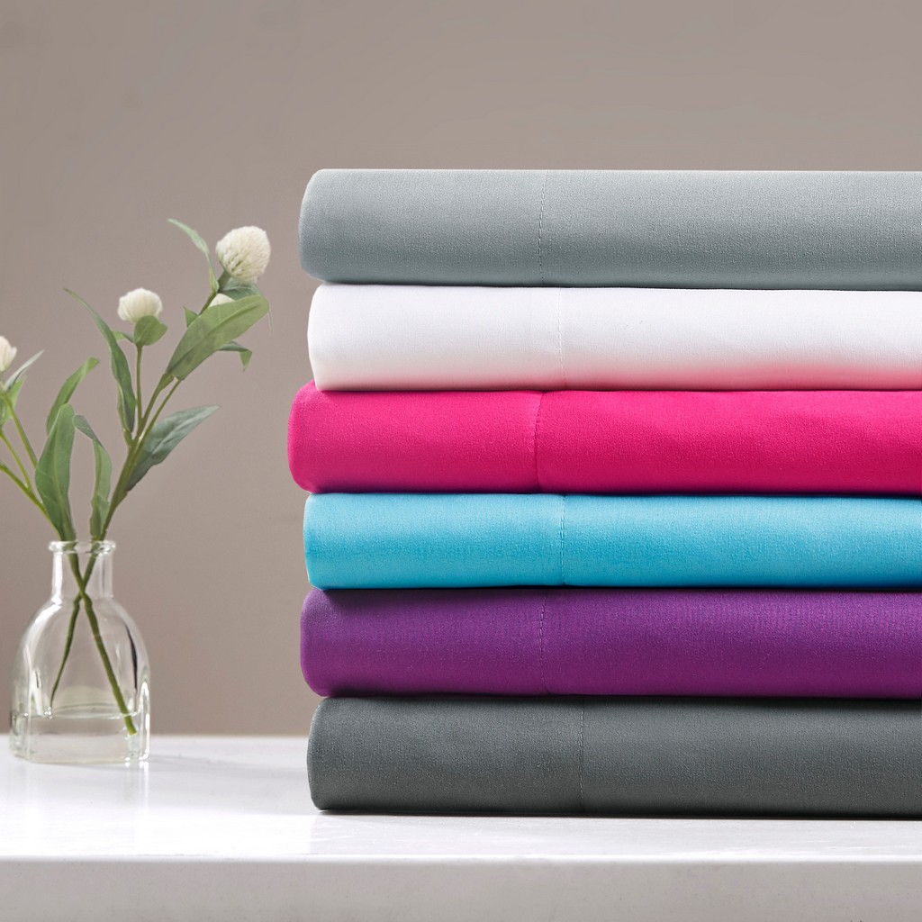 100% Polyester Microfiber Solid Sheet Set W/ Side Storage Pockets - Olliix ID20-1914