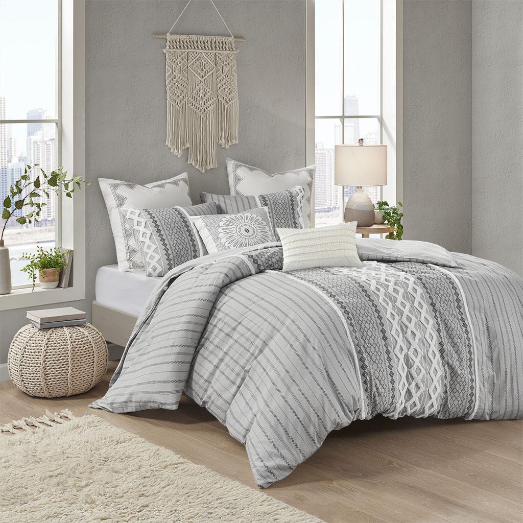 INK+IVY King/Cal King Cotton Comforter Set in Gray - Olliix II10-1090