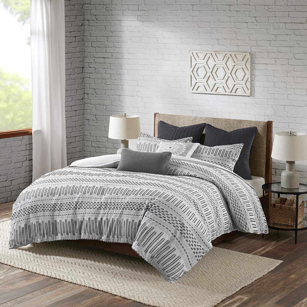 INK+IVY Full/Queen Cotton Jacquard Comforter Mini Set in Grey - Olliix II10-1100