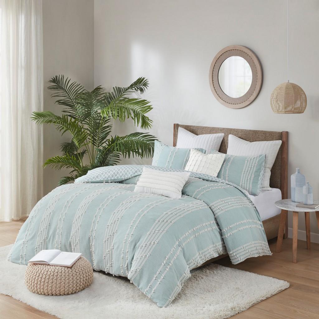 INK+IVY Full/Queen Cotton Jacquard Comforter Mini Set in Aqua - Olliix II10-1104