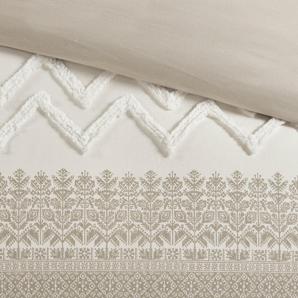 100% Cotton Printed Comforter Set with Chenille - Olliix II10-1124