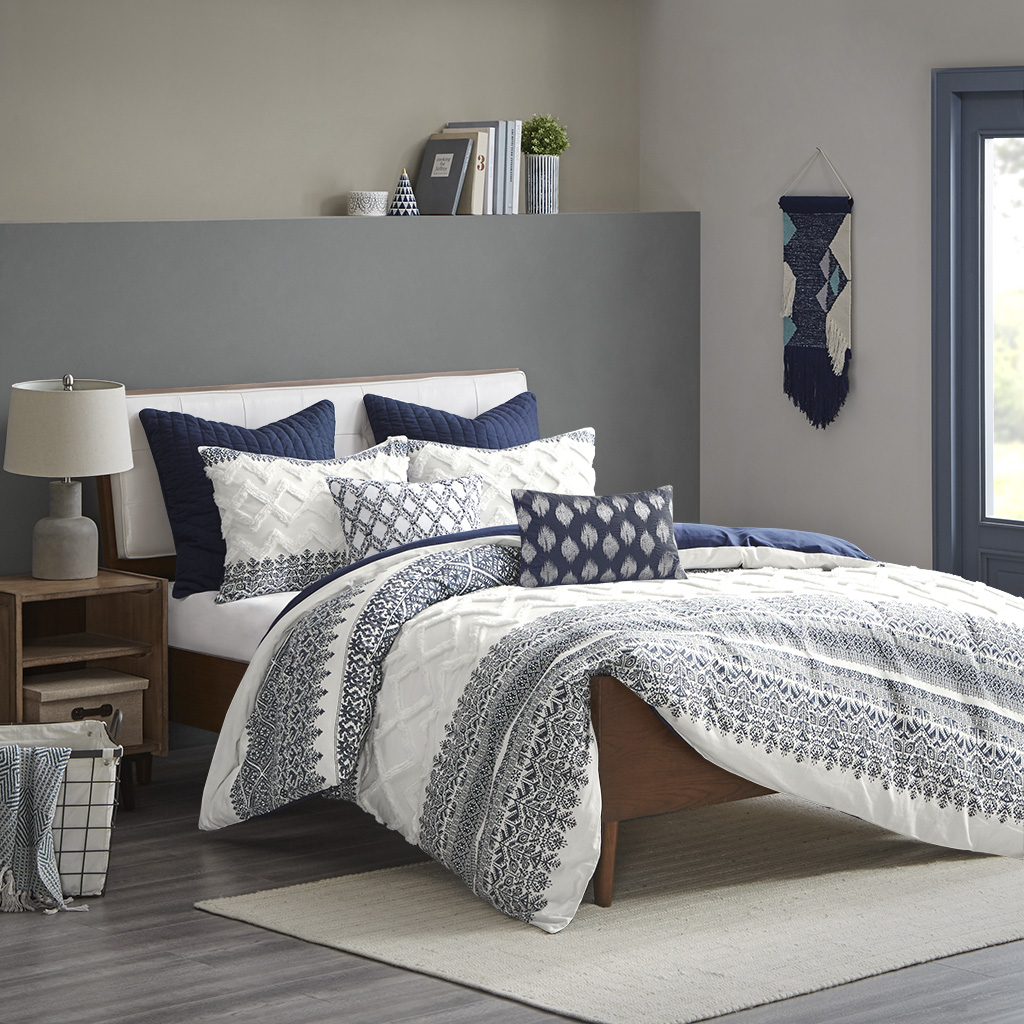 INK+IVY Full/Queen 100% Cotton Printed Duvet Cover Set W/ Chenille in Navy - Olliix II12-1063